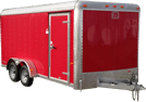 red tandem axle trailer with leaf spring axles